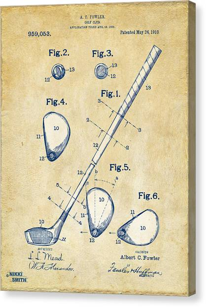 Dad Canvas Print - Vintage 1910 Golf Club Patent Artwork by Nikki Marie Smith