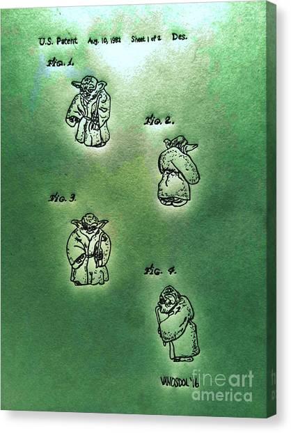 Hamels Canvas Print - Vintage 1982 Star Wars Yoda Patent - Green Abstract by Scott D Van Osdol