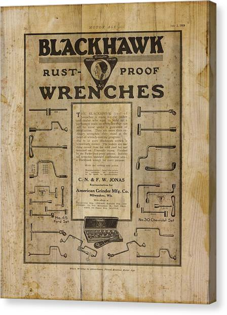 Contractors Canvas Print - Vintage Ad Blackhawk Wrenches by Cynthia Decker