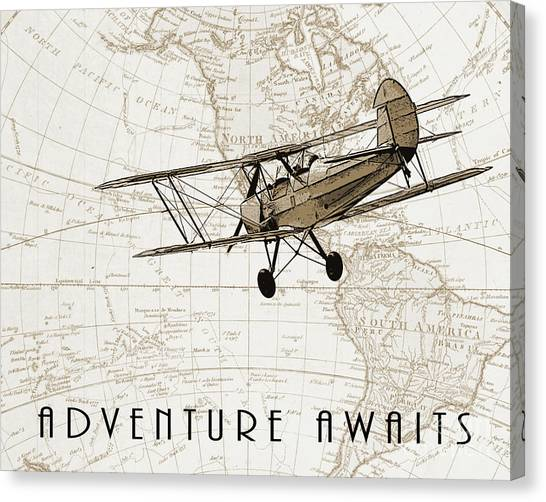Child Drawing Canvas Print - Vintage Adventure by Delphimages Photo Creations