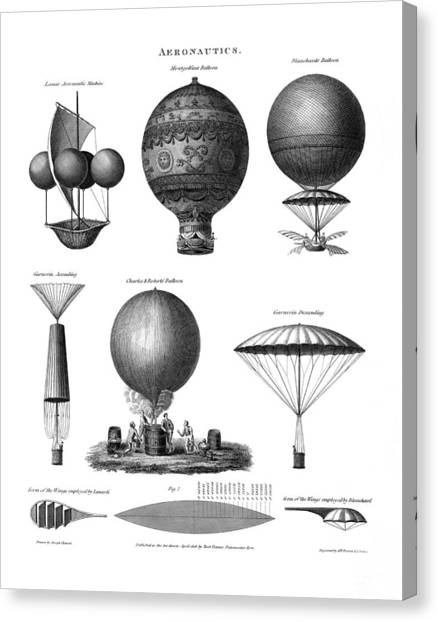 Blimps Canvas Print - Vintage Aeronautics - Early Balloon Designs by War Is Hell Store