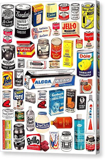Canvas Print featuring the digital art Vintage American Brands by ReInVintaged