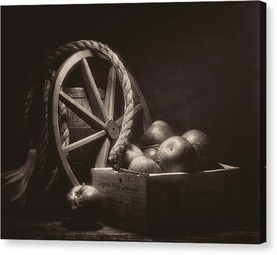 Fruit Baskets Canvas Print - Vintage Apple Basket Still Life by Tom Mc Nemar