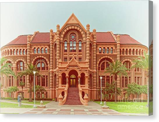Vintage Architectural Photograph Of Ashbel Smith Old Red Building At Utmb - Downtown Galveston Texas Canvas Print