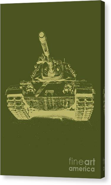 Green Camo Canvas Print - Vintage Army Tank by Emily Kay