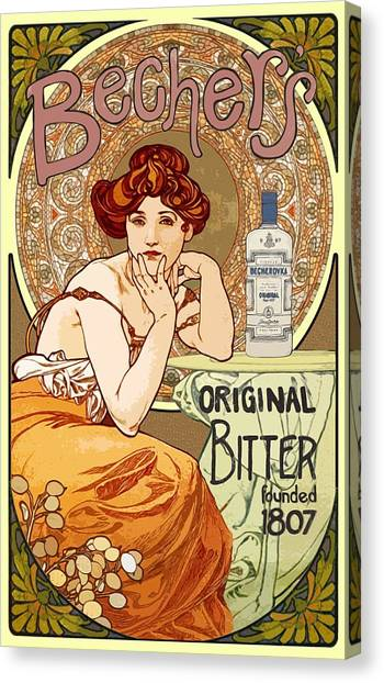 Vintage Art Nouveau Bechers Original Bitter 1807 Canvas Print