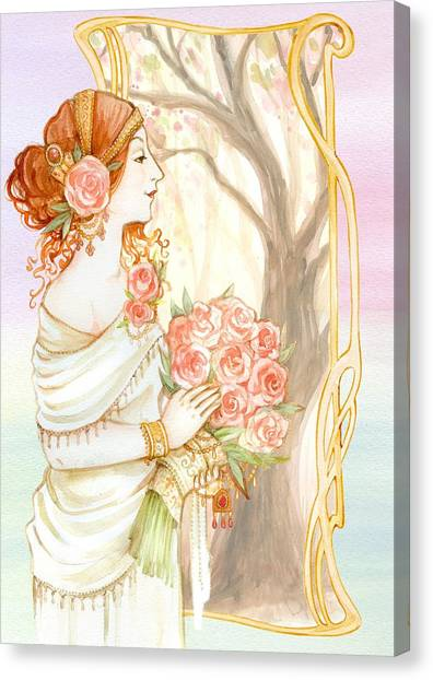 Vintage Art Nouveau Flower Lady Canvas Print