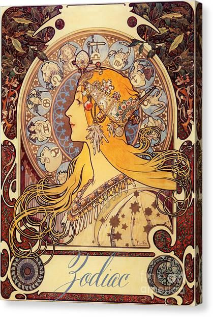 Alphonse mucha canvas print vintage art nouveau zodiac by mindy sommers