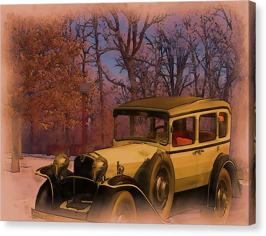 Vintage Auto In Winter Canvas Print