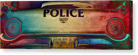Police Car Canvas Print - Vintage Baltimore Police Department Car by Marianna Mills