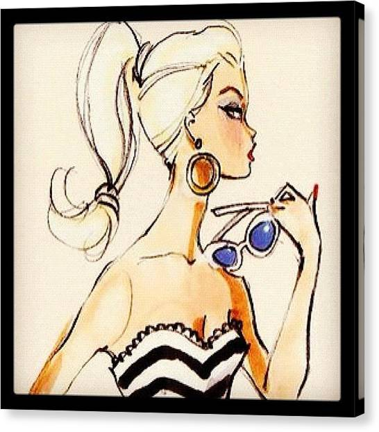 Greece Canvas Print - Vintage Barbie Sketch #awesome #barbie by Myrtali Petrocheilou