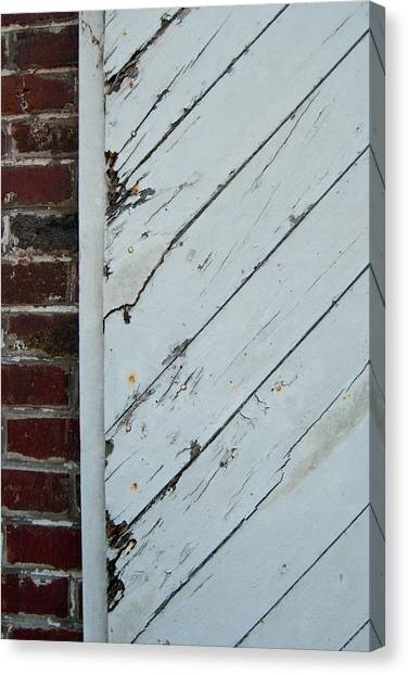 Vintage Barn Door And Red Brick Canvas Print