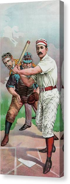 Softball Canvas Print - Vintage Baseball Card by American School