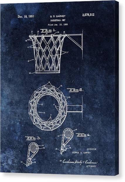 Three Pointer Canvas Print - Vintage Basketball Net Patent by Dan Sproul