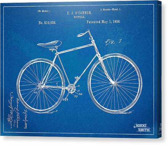Canvas Print featuring the digital art Vintage Bicycle Patent Artwork 1894 by Nikki Marie Smith