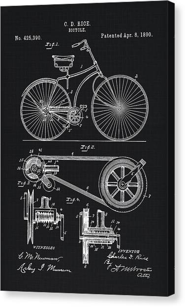 Bicycle Canvas Print - Vintage Bicycle Patent Illustration 1890 by Tina Lavoie