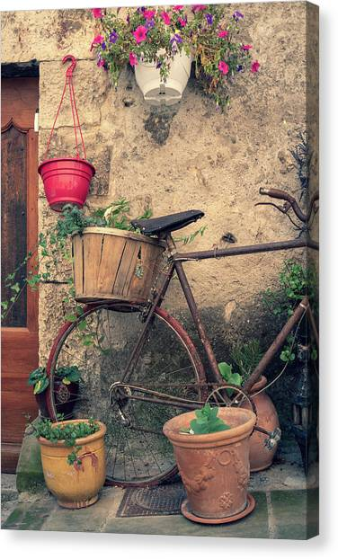 Vintage Bicycle Used As A Flower Pot, Provence Canvas Print