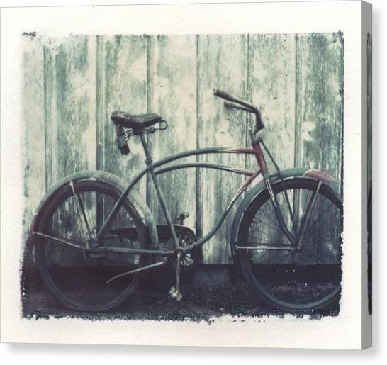 Vintage Polaroid Canvas Print - Vintage Bike Polaroid Transfer by Jane Linders