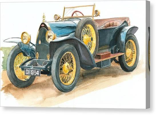 Vintage Blue Bugatti Classic Car Canvas Print