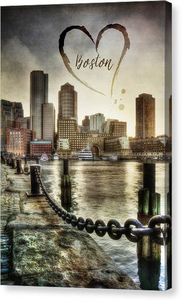 Vintage Boston Skyline Canvas Print