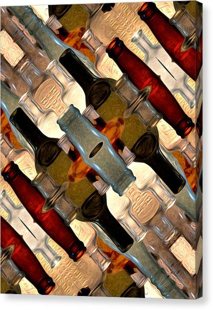 Vintage Bottles Abstract Canvas Print