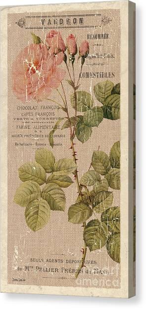 Blooms Canvas Print - Vintage Burlap Floral 4 by Debbie DeWitt