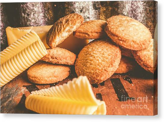 Biscuits Canvas Print - Vintage Butter Shortbread Biscuits by Jorgo Photography - Wall Art Gallery