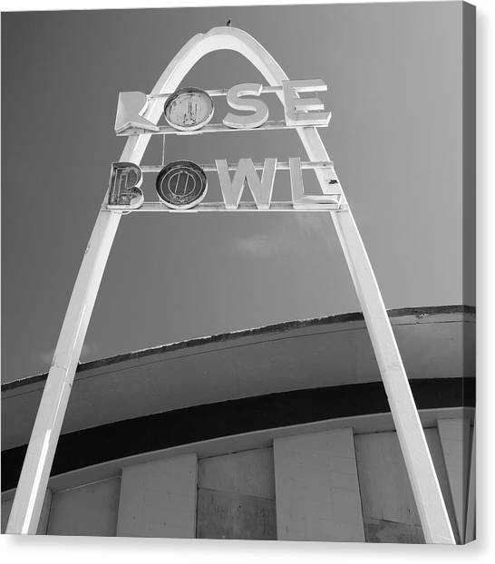 Historic Route 66 Canvas Print - Vintage Bw Rose Bowl Route 66 Tulsa - Square Format by Gregory Ballos