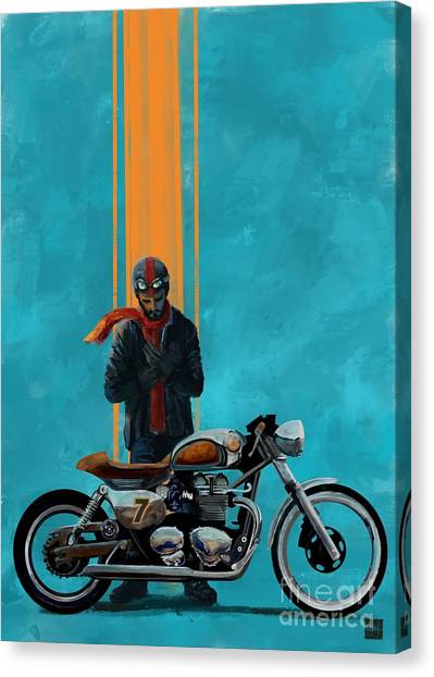 Canvas Print featuring the painting Vintage Cafe Racer  by Sassan Filsoof