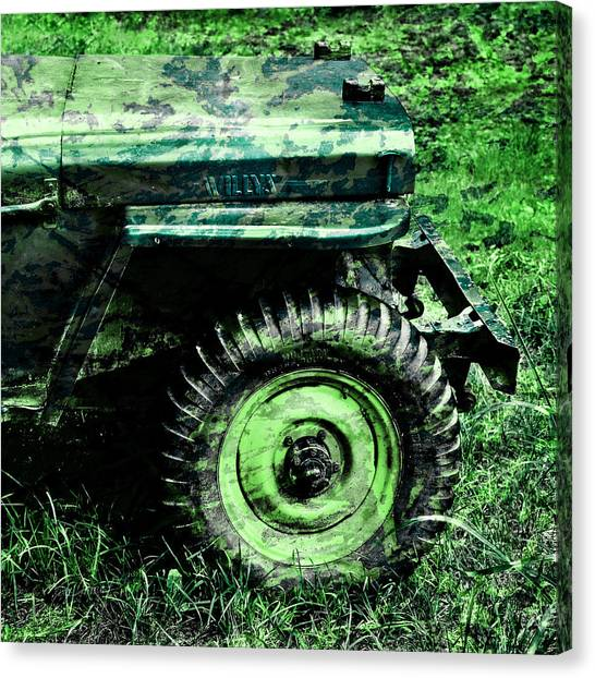 Green Camo Canvas Print - Vintage Camo Willys by Luke Moore