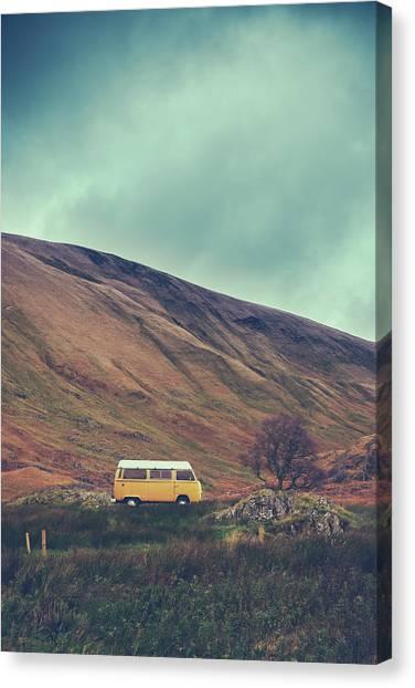 Caravan Canvas Print - Vintage Camper Van In The Wilderness by Mr Doomits