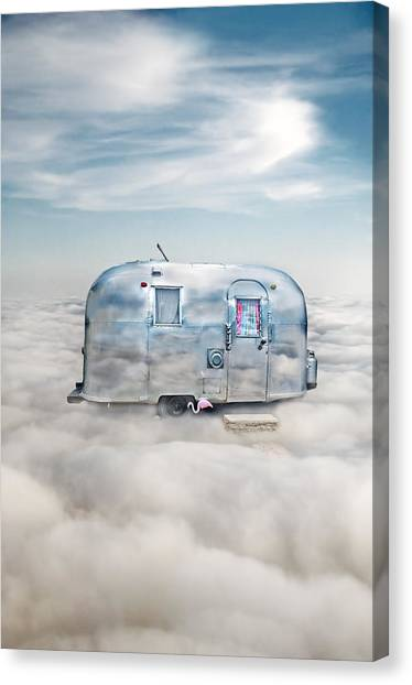 Vintage Camping Trailer In The Clouds Canvas Print