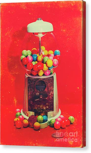 Coins Canvas Print - Vintage Candy Store Gum Ball Machine by Jorgo Photography - Wall Art Gallery