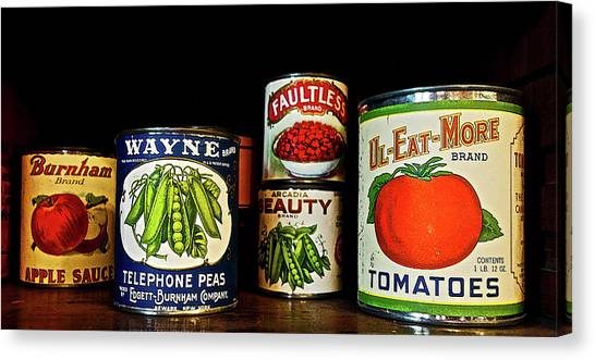 Vintage Canned Vegetables Canvas Print
