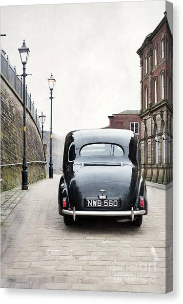 Vintage Car On A Cobbled Street Canvas Print