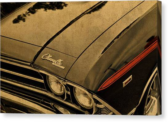 Chevelle Canvas Print - Vintage Chevrolet Chevelle Hood by Design Turnpike
