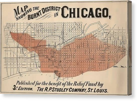 Chicago Fire Canvas Print - Vintage Chicago Fire Map by Stephen Stookey