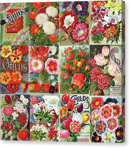 Vintage Childs Nursery Flower Seed Packets Mosaic  Canvas Print