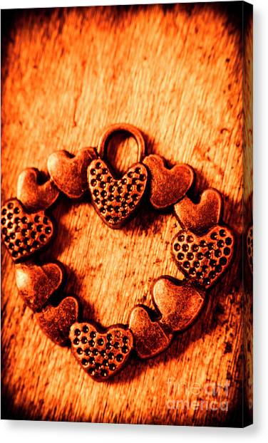 Present Canvas Print - Vintage Circle Of Hearts by Jorgo Photography - Wall Art Gallery