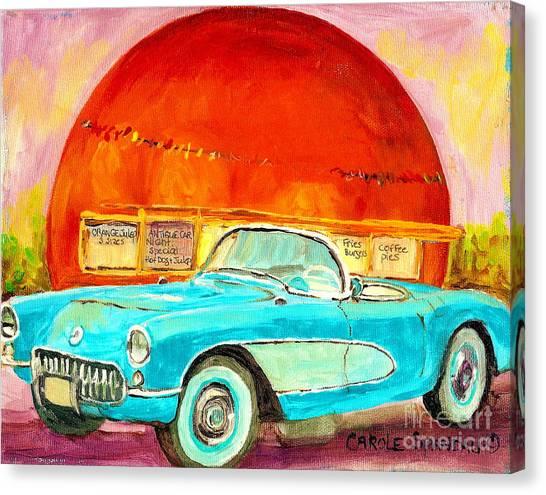 Fast Ball Canvas Print - Vintage Classic Car Painting Blue Corvette At Orange Julep Montreal Canadian Art Carole Spandau   by Carole Spandau