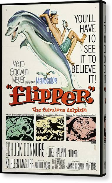 Flipper Canvas Print - Vintage Classic Movie Poster, Flipper by Esoterica Art Agency