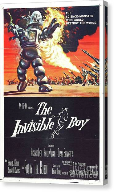 Forbidden Planet Canvas Print - Vintage Classic Movie Posters, The Invisible Boy by Esoterica Art Agency