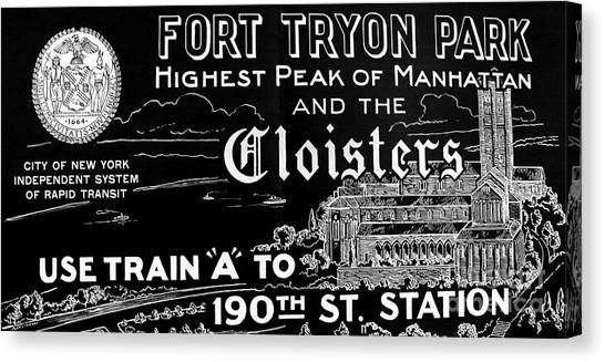 Vintage Cloisters And Fort Tryon Park Poster Canvas Print