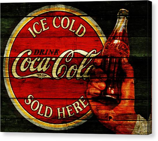 Mountain Dew Canvas Print - Vintage Coca Cola Sign 1c by Brian Reaves