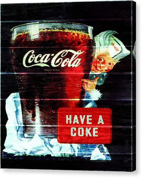 Mountain Dew Canvas Print - Vintage Coca Cola Sign 1d                     by Brian Reaves