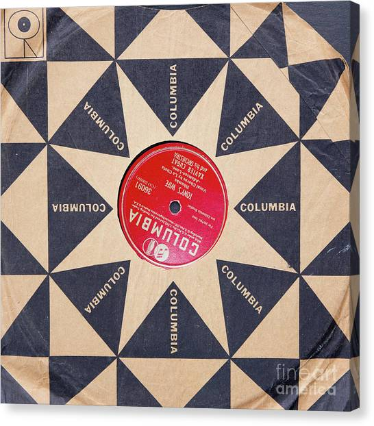 Canvas Print featuring the photograph Vintage Columbia Records Graphic Design by Edward Fielding