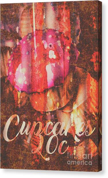 Cakes Canvas Print - Vintage Cupcake Tin Sign by Jorgo Photography - Wall Art Gallery