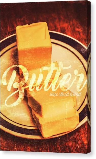 Wooden Canvas Print - Vintage Dairy Product Advertisement by Jorgo Photography - Wall Art Gallery