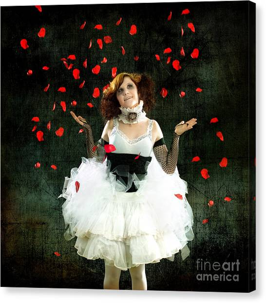 Vintage Dancer Series Raining Rose Petals  Canvas Print