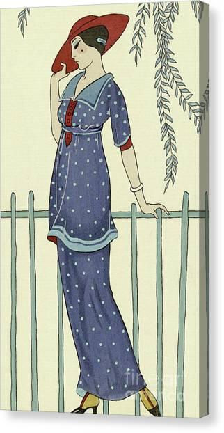 Fashion Plate Canvas Print - Vintage Design For A Bathing Dress by Georges Barbier
